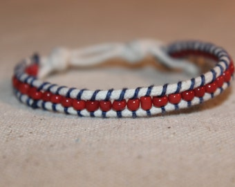 Red and Navy Wrap Bracelet