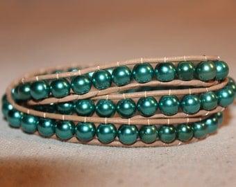Teal Pearl Wrap Bracelet