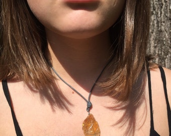 Orange and Gray Stone Necklace