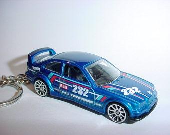 3D 1994 BMW M3 gtr custom keychain by Brian Thornton keyring key chain finished in blue racing trim