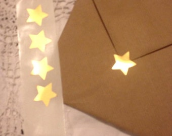 Shimmery Metallic Gold Star Seals - Gold Star Envelope Seals