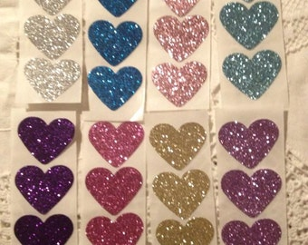 A Rainbow of Colors Glitter Heart Seals - Large Glitter Heart Sticker Envelope Seals - For All of Your Events Lot of 32