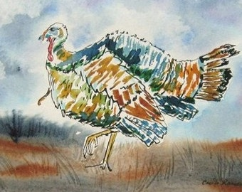 Turkey Painting. Original Watercolor Turkey. Colorful pen & ink turkey art. Thanksgiving, OOAK Country Decor. Signed, mat 8x10 Not a Print!