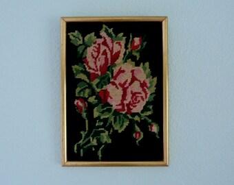 Table - pink - flowers canvas - gilt frame - vintage
