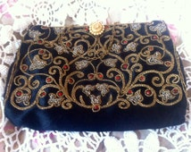 Stunning French Passementerie Embroidered/Antique French Gold Metallic Embroidered Evening Bag/Antique Embroidered Wedding Clutch