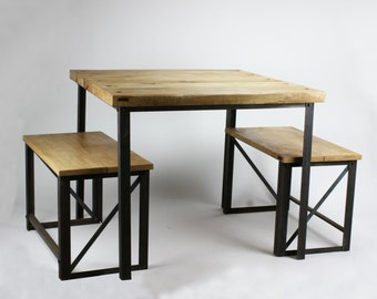 KONK! - Oak/Steel INDUSTRIAL Square Dining Table - seats up to four, rustic, vintage, chic, cafe, restaurant