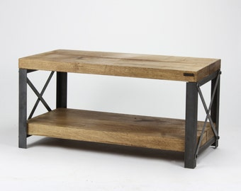 Oak INDUSTRIAL 'Classic' TV Stand, Entertainment Unit [Bespoke sizes!] Rustic Reclaimed