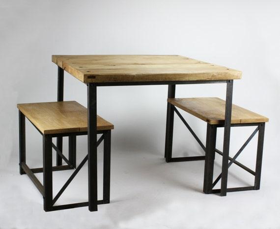 Konk oak steel industrial square dining table by konkfurniture for Square industrial dining table