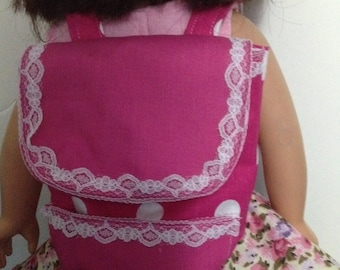 Doll backpack fits American Girl dolls, 18 inch doll backpack pink polka dot backpack Minnie Mouse