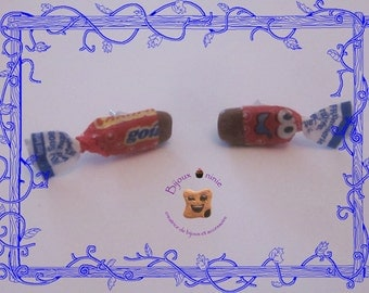 Chip candy earrings caramel cola in fimo