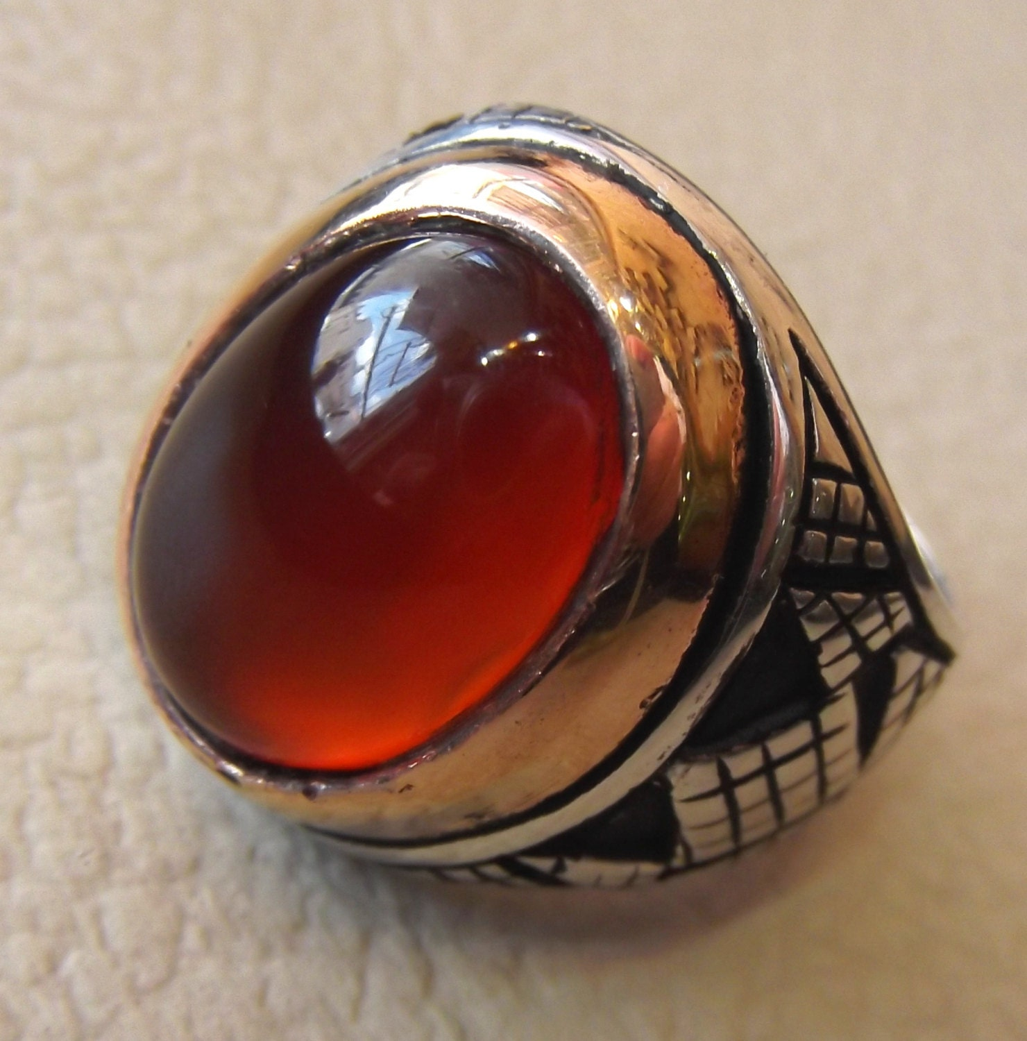 Aqeeq Carnelian Agate Cabochon Oval Red Stone Sterling Silver