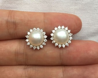 Pearl earring,bridal ear pearl,crystal earrings stud,flower pearl studs,freshwater pearl earring stud,wedding earings jewelry bridesmaid