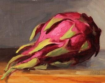 Original Oil Painting Still Life, Dragon Fruit Pitaya by Aleksey Vaynshteyn