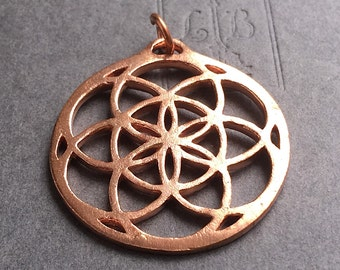 Seed of Life Flower of Life Large Copper Pendant Sacred Geometry Focal 38mm x 35mm FB1052
