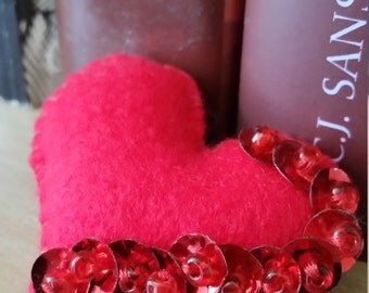 Beautiful Hand made Felt red heart brooch