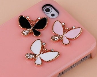 1pcs Bling Alloy 3D Butterfly Dazzle Crystals Gems Flatback Cabochon Decoden Accessories/New DIY Cell Phone Case Deco Den Materials Supplies