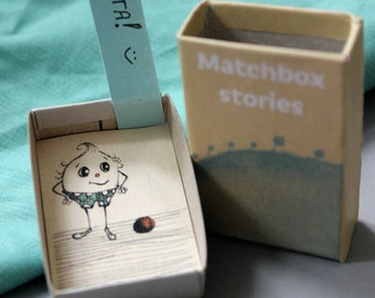 Matchbox stories, gift box, personalized message, handwritten, 3D effect, ball