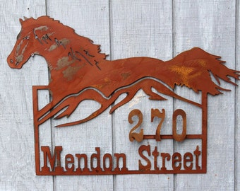 Personalized Horse Sign, Address Sign, Farm Sign, Ranch Sign, House Sign, Name Sign, 3D Sign, Metal Sign