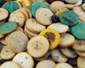110 Antique/Vintage One Hole Semi-Flat Beads, Cream and Turquoise -  Jewelry Making, Collage, Altered Art, Mixed Media, Scrapbooking #176 ok