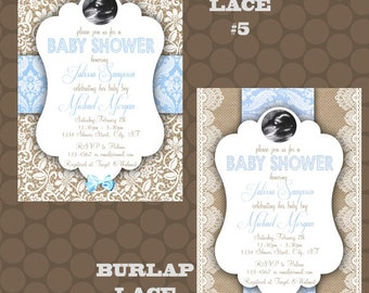 Burlap Lace Blue Baby Shower Invitations Thank You Cards Printable Uprint Digital Printed * READ DESCRIPTION *