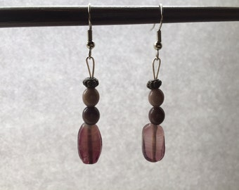 Purple beaded dangle earrings