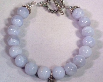 Reiki Blessed/Infused Blue Lace Agate and Sterling Silver Toggle Bracelet - 8mm