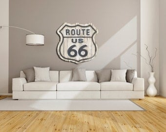 Distressed Wooden Route US 66 Sign