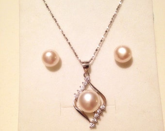 Wedding Bridesmaid Necklace Genuine Freshwater Pearl necklace and earring set S925 silver