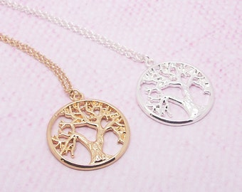 Tree Of Life Necklace in Gold/Silver, Everyday Necklace, Anniversary Necklace, Bridesmaid Necklace NB615