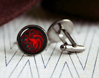 House Targaryen  game of thrones cufflinks. Gift idea for men, Fathers day, Christmas, prom, wedding cuff links.
