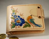 OOAK Leather Wallet handmade flower bird ornament, Leather Wallet Woman, Womens Wallet, Purse, Pouch, natural leather color