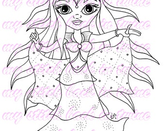 Digital stamp colouring image -  Belly dancer Darcee . jpeg / png