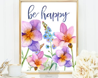 be happy print poster quote wall decor,typographic poster inspirational quote wall art decor art print home decor print wedding print art