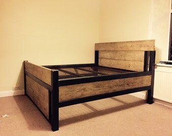 handmade wood and steel reclaimed bed