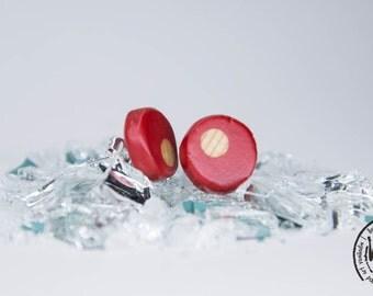 Red Post Earrings, Wood Post Earrings, Red Wood Earrings, Red Stud Earrings, Wood Stud Earrings, Ooak Stud Earrings, Unique Earrings