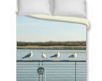 Duvet cover - seagull photo duvet cover, king queen duvet cover & shams, beach, birds duvet cover, blue ocean bedroom, coastal, nautical
