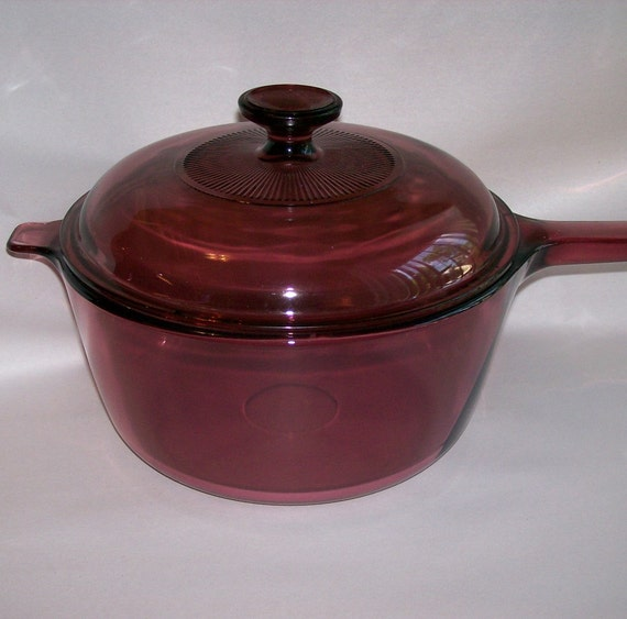 Corning Visions Ware Cranberry 2.5 Qt By FadingFiftiesVintage