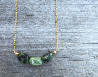 Green Opal Necklace - Green Opal Beaded Necklace - Green Necklace - Petite Necklace - Bridesmaid Necklace - Polished Green Opal