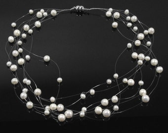 Snow Gypsophila - 8 Strand Floating Freshwater Pearl Necklace - Invisible Thread - AAA pearls - Bridal Pearl Necklace