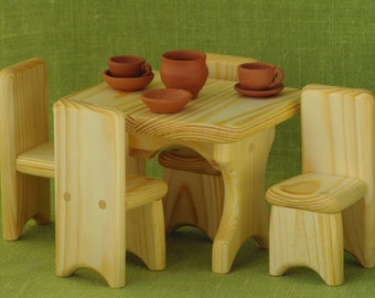 Doll house furniture, Waldorf wooden furniture, Waldorf wooden toys, dollhouse furniture, kitchen furniture, Waldorf doll furniture