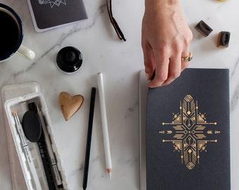 Unique Sketchbook - Letterpress Minimal Design - Handmade Jotter - Small Notebook -- Notebook Journal -  back to school - Blank Notebook