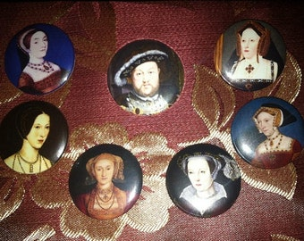 "King Henry the Eighth and his Wives 1.25"" Pinback Buttons or magnets"
