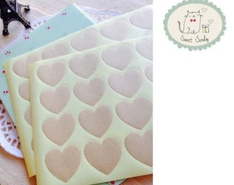 Kraft Brown HEART Gift Seal Label Scrapbooking Stickers, 40pcs/ 2sheets