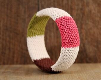 modern bangle bracelet - birthday gift - for her - gift idea - crochet jewelry - handmade jewelry - gift for girlfriend - MudenoMade