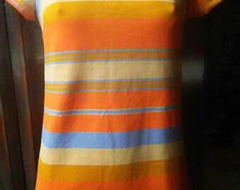 Vintage Neon Striped 1960s Cole Of California JR Mini Go Go Dress