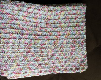 Clearance! Multicolor hand knitted baby blanket.