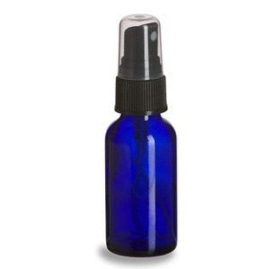 6 Cobalt Blue 1 Oz Glass Spray Bottles W Black Fine Mist