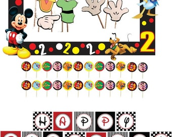Mickey birthday package, photo botth frame, props, cupcake toppers and custom banner