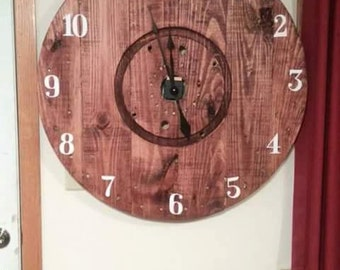 Wall hanging clock, spool top art!