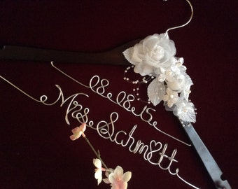 Two line - 2 line Personalized wedding hanger, Bride hanger, wedding dress hanger